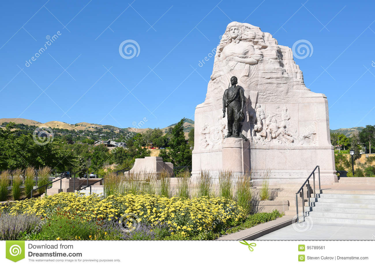 The Mormon Battalion Monument at the Utah State Capitol