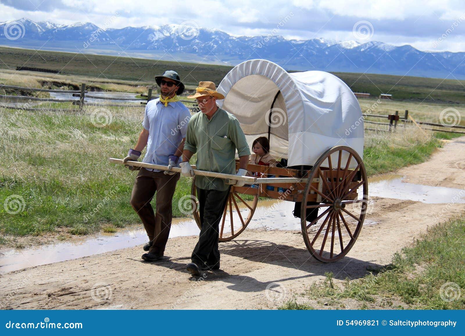 mormon pioneer handcart trek stock image