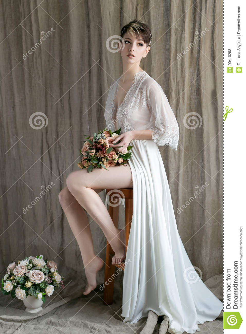 Morning Beautiful Delicate Bride With Short Hair With A Small