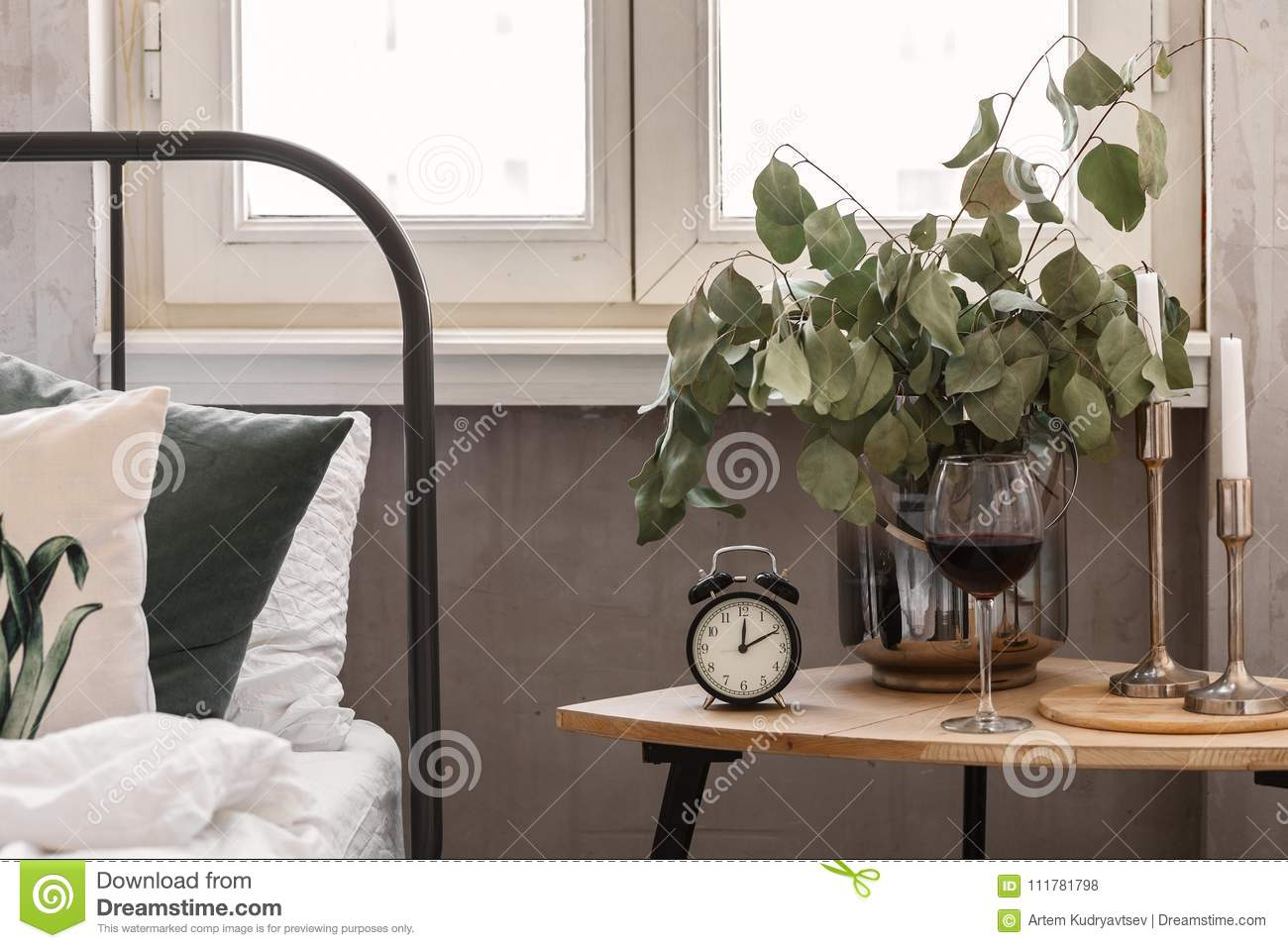 Morning. Bedside table