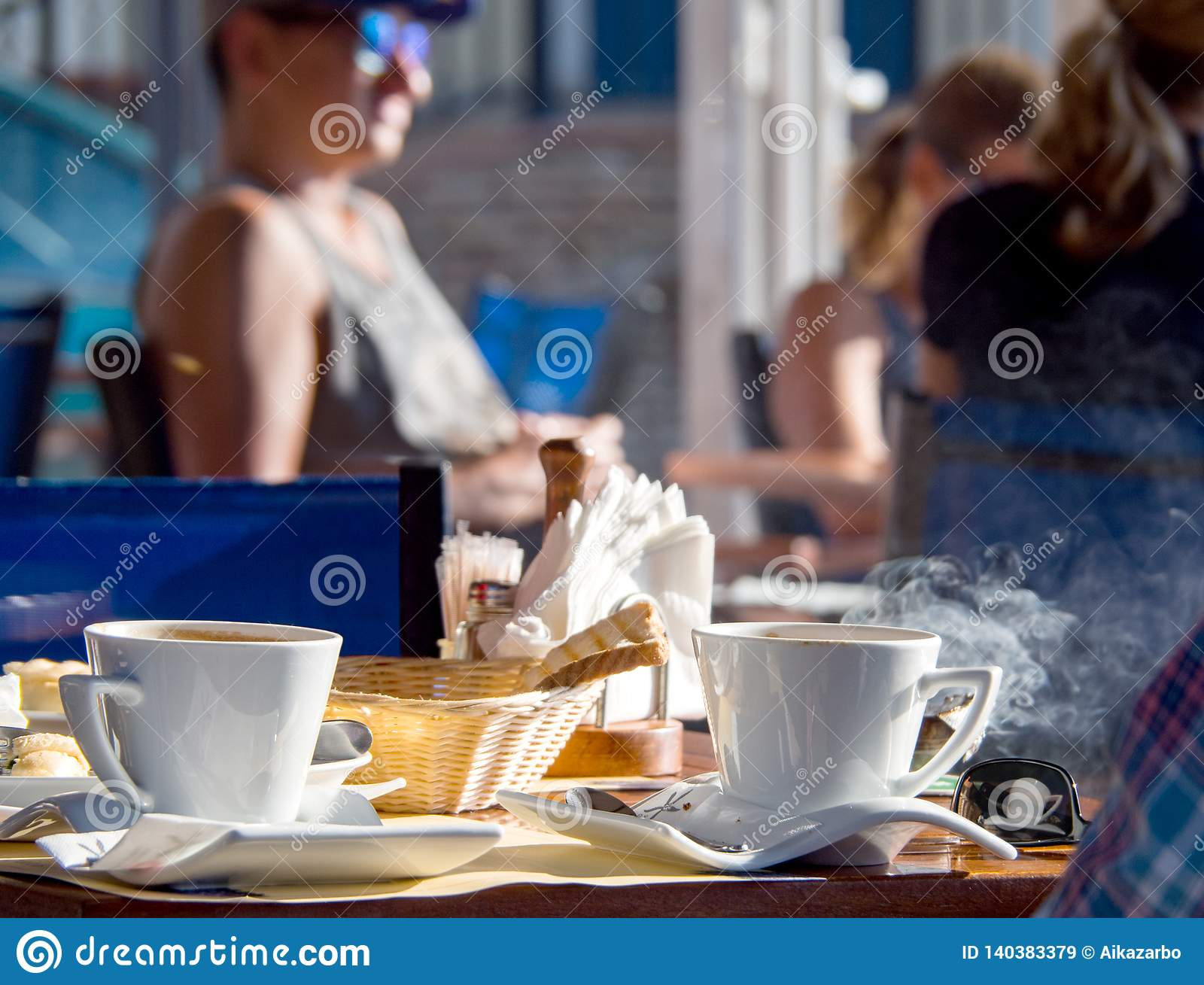 Morning breakfast with Greek coffee in a cafe on the island of Kefalonia, Greece