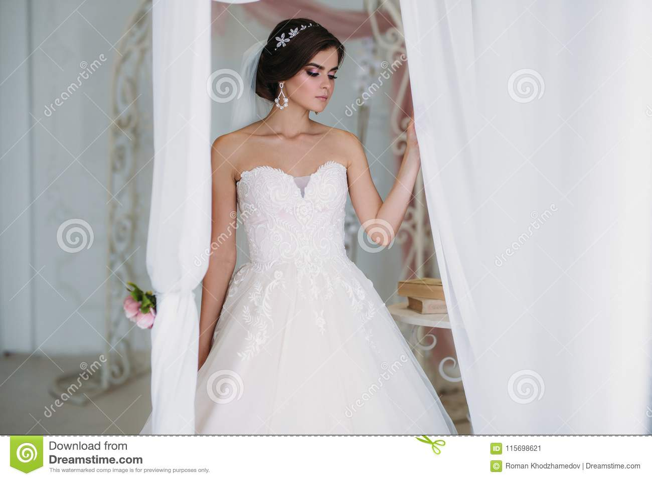 Morning Of The Bride Portrait Of Beautiful Woman In White Luxury