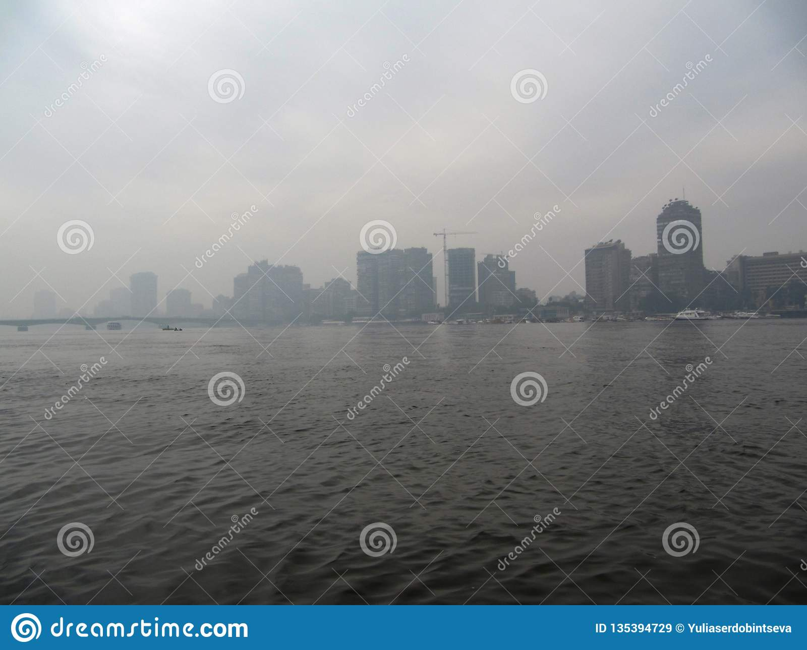 Morning in Cairo. Fog over the Nile
