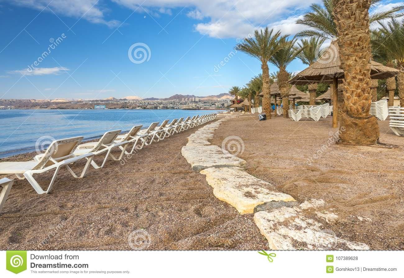 Morning On Central Public Beach In Eilat, Israel Stock Photo - Image ...