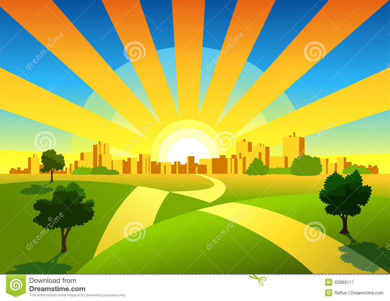 Morning City Background Stock Vector - Image: 43383117