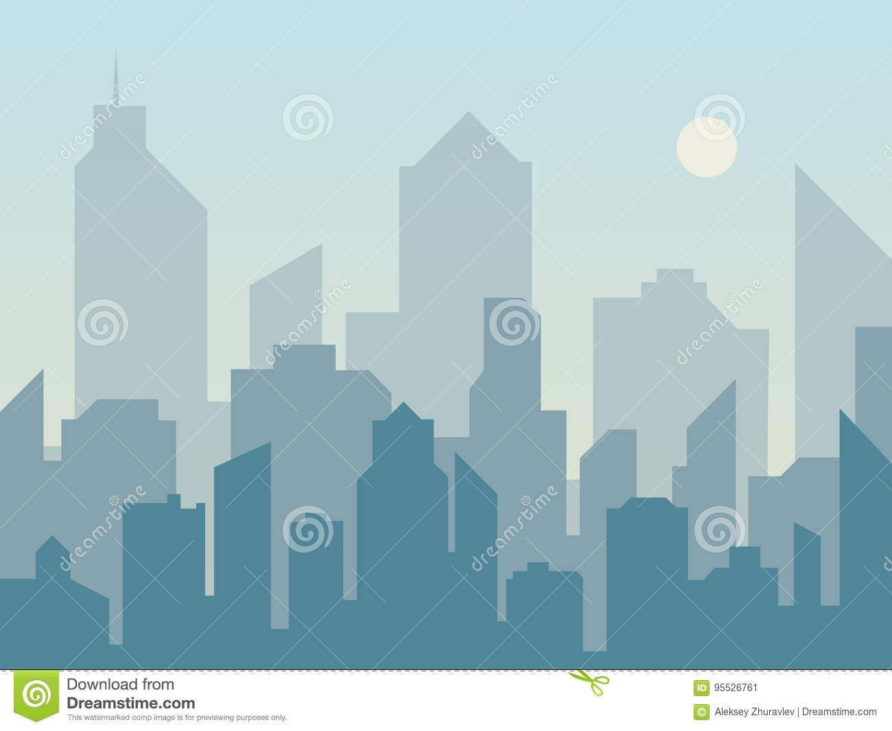 Morning city skyline silhouette in flat style. Modern urban landscape. Cityscape backgrounds.