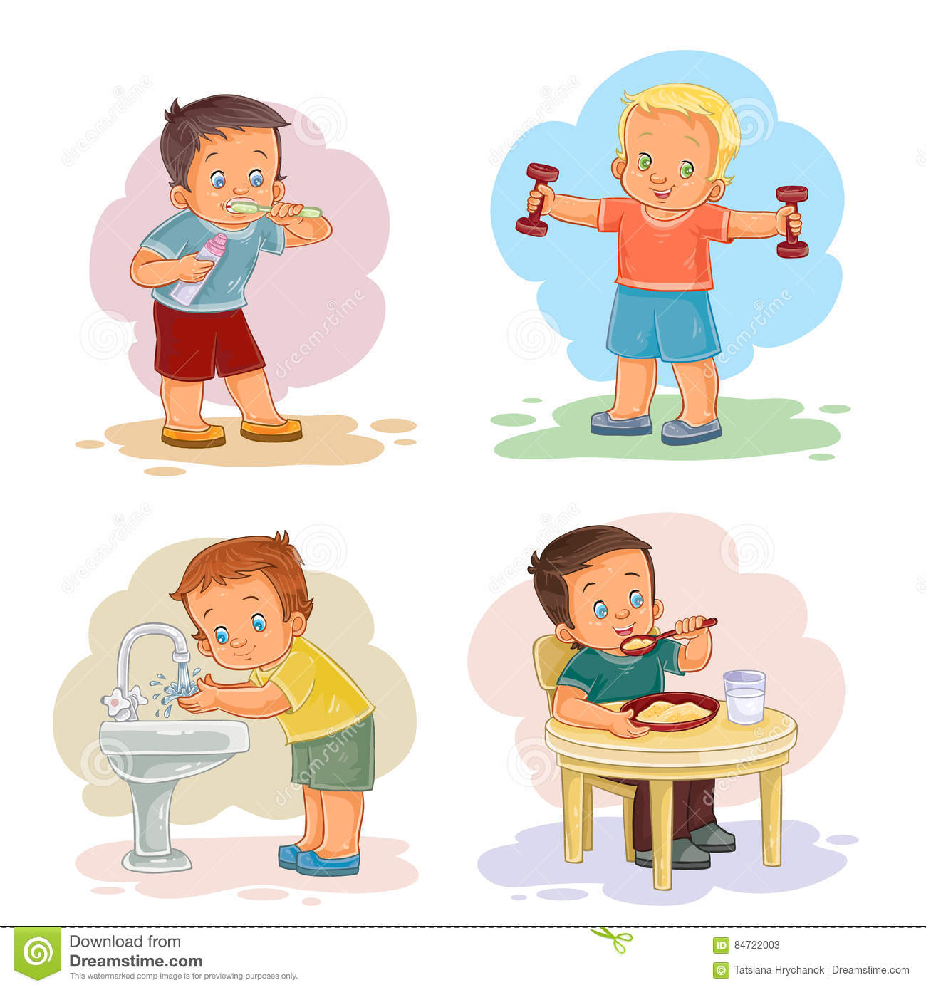 Morning Clip Art Illustrations With Young Children Stock ...