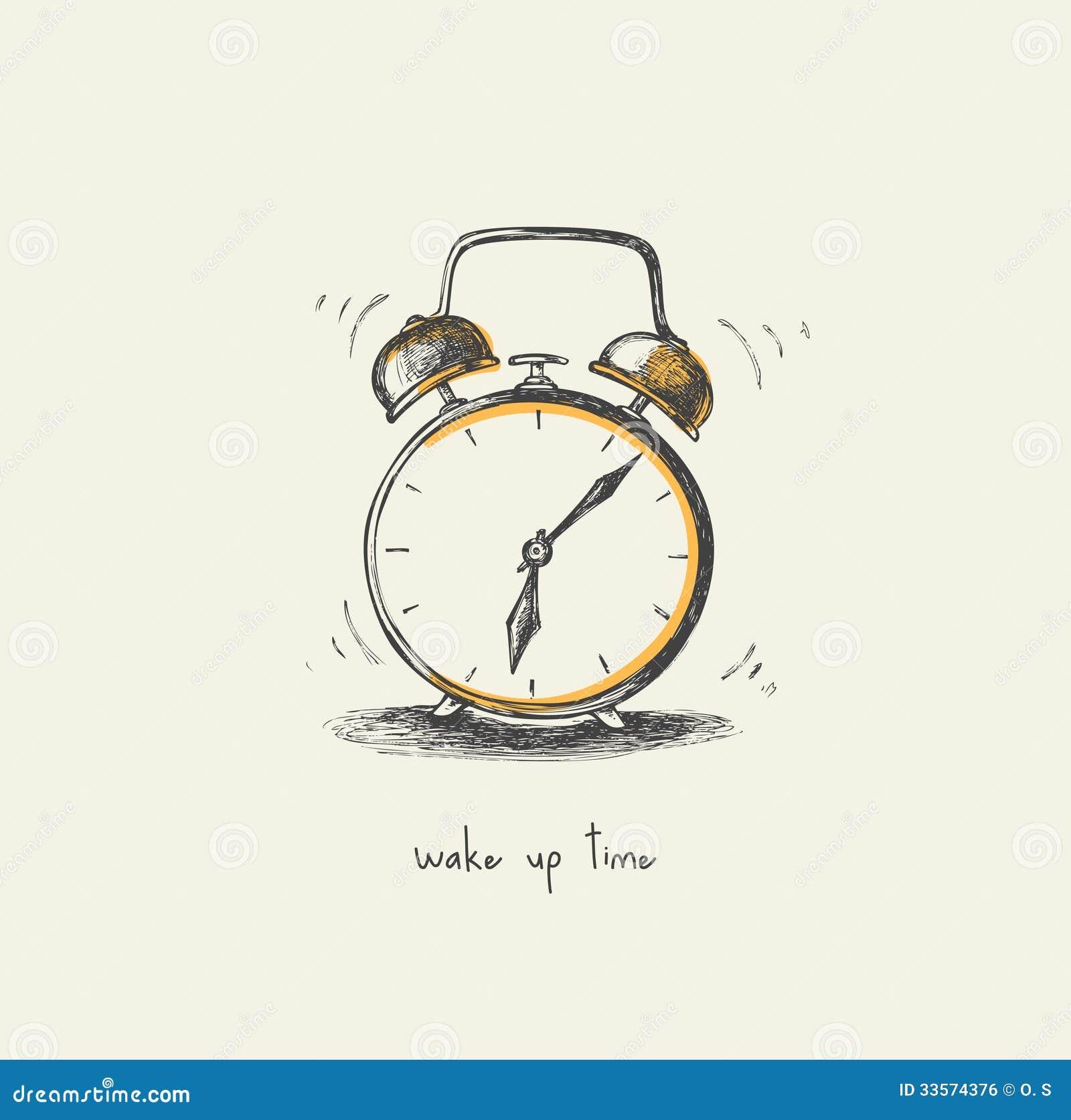 Morning Clock - Drawing Royalty Free Stock Image - Image