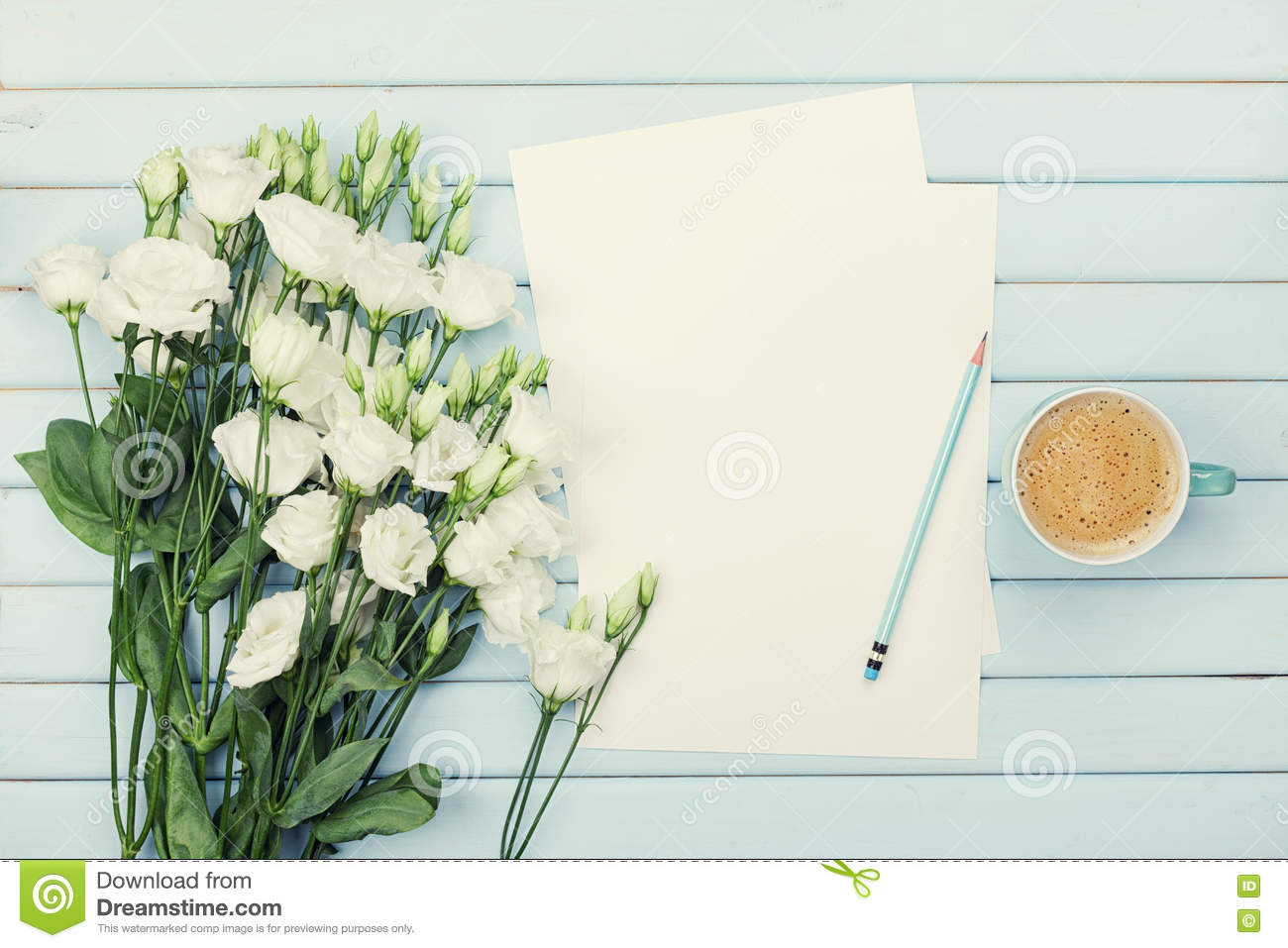 Morning Coffee Cup Empty Paper List Pencil And Bouquet Of White