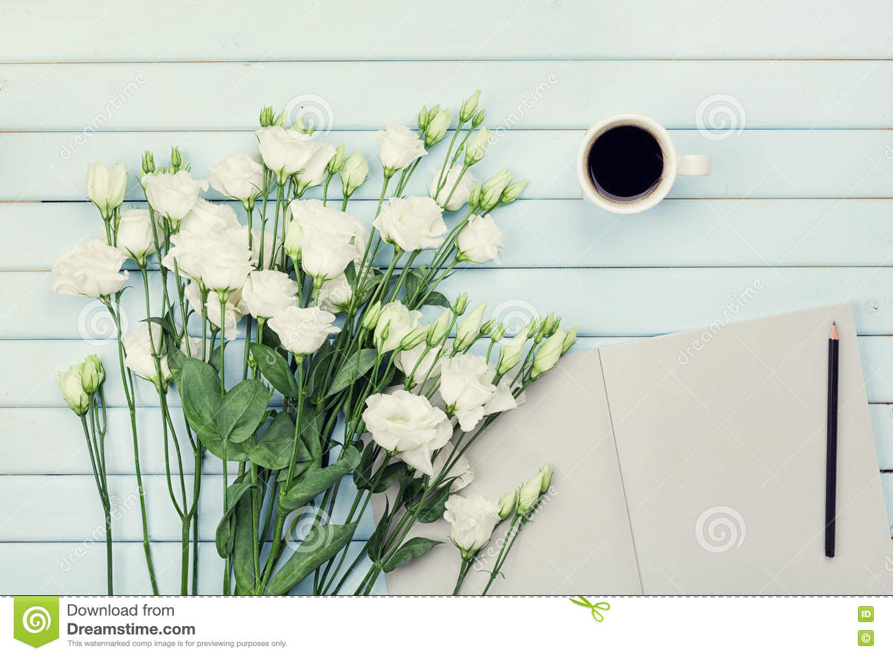 Morning coffee cup empty paper list pencil and bouquet of white morning coffee cup empty paper list pencil and bouquet of white flowers eustoma mightylinksfo