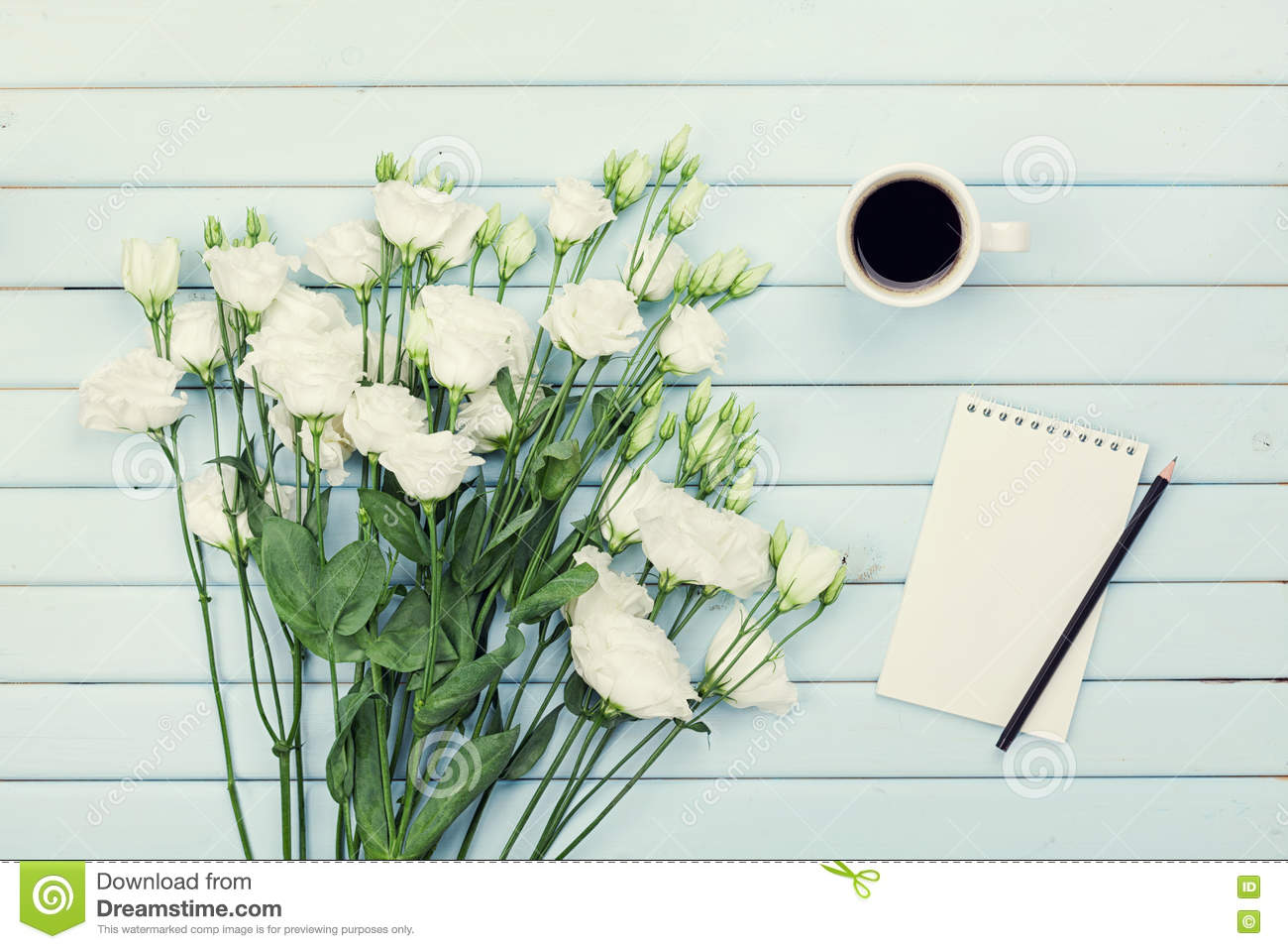Morning coffee cup empty paper list pencil and bouquet of white download morning coffee cup empty paper list pencil and bouquet of white flowers mightylinksfo