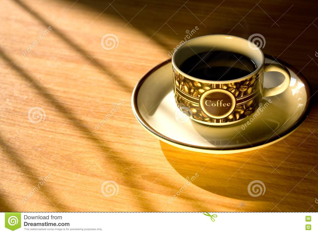 Royalty free stock photography morning coffee cup on wood background