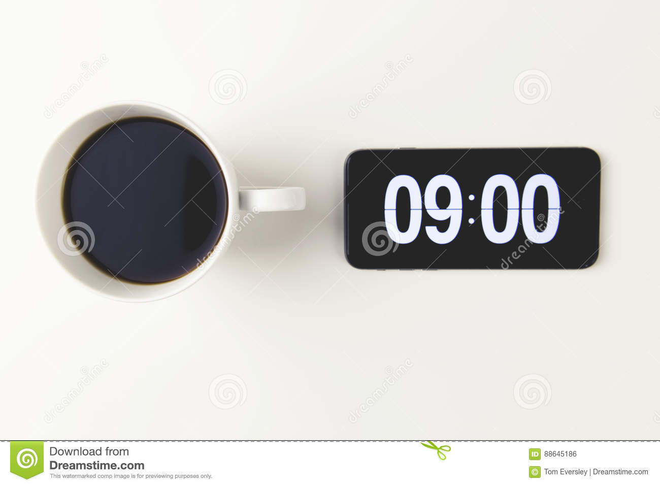 Morning Coffee With Time Display On Digital Clock On Mobile