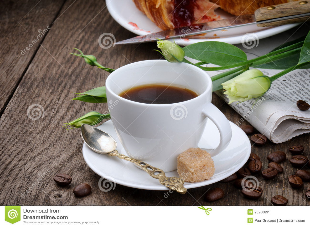 Morning Coffee Time With Newspaper Stock Image - Image: 26260831