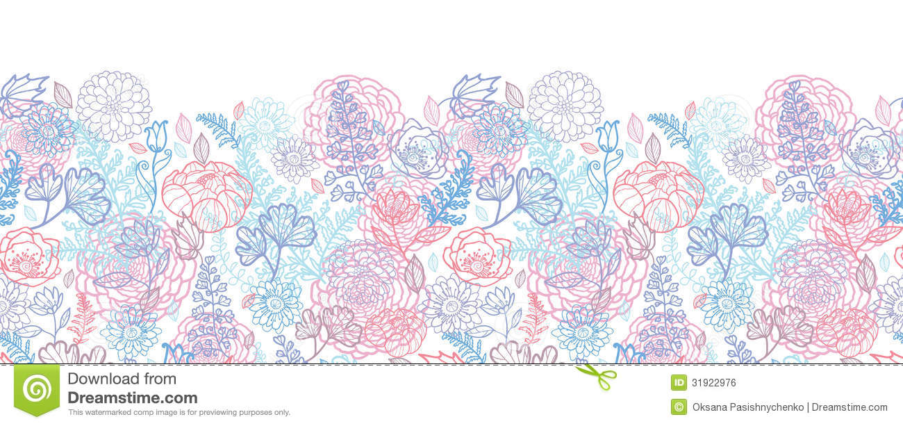 Line Art Flower Vector : Morning colors floral horizontal seamless pattern stock