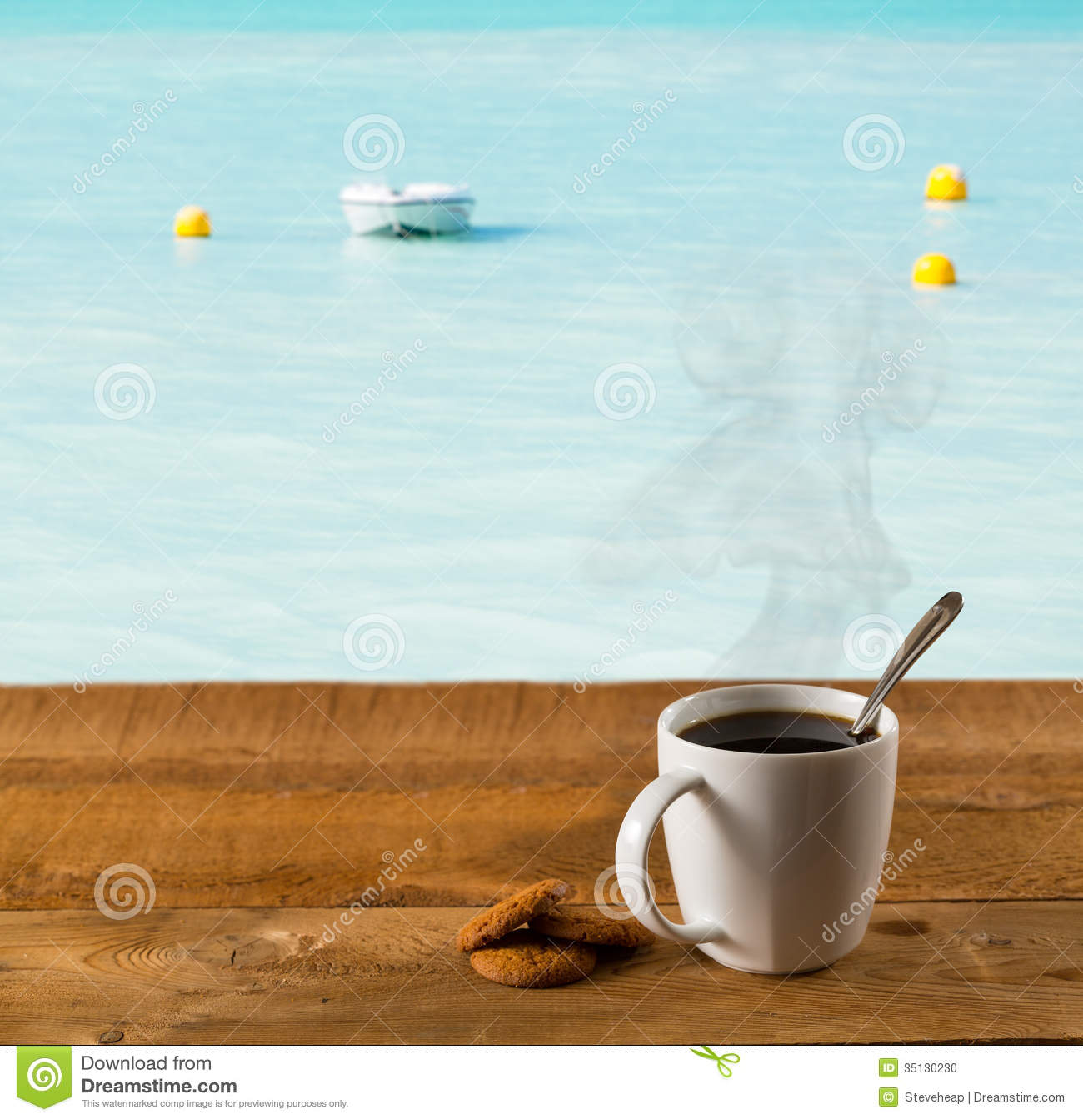 Morning Cup Of Coffee By Warm Caribbean Sea Stock Photo - Image of nature, hills: 35130230