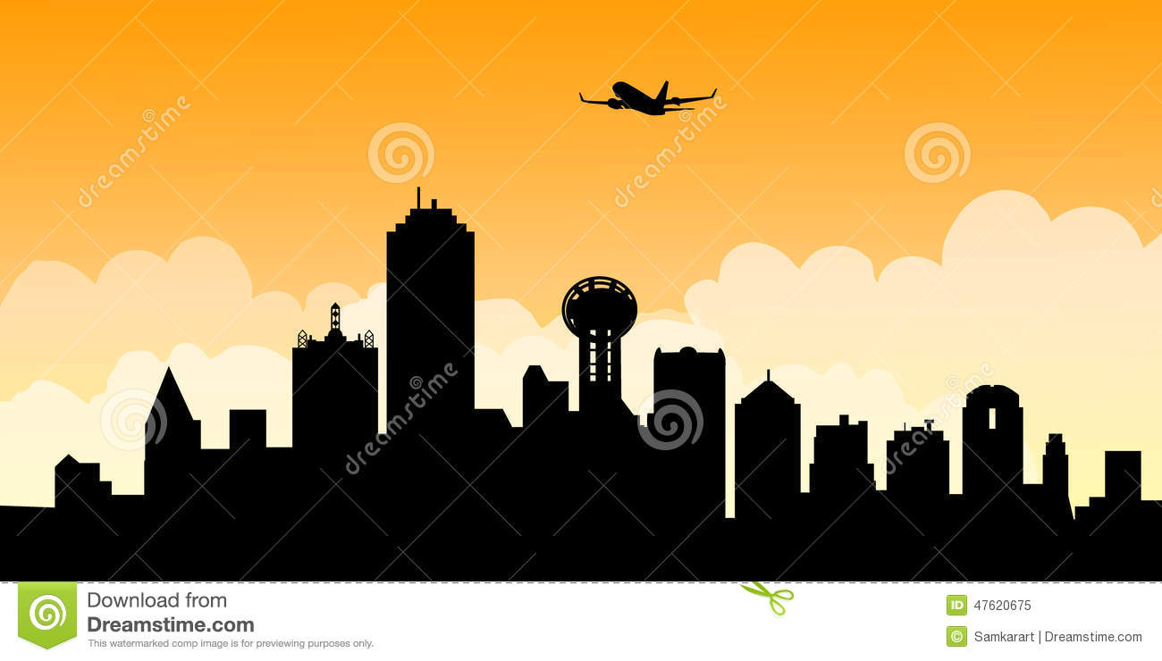 morning dallas skyline vector stock vector illustration of icons