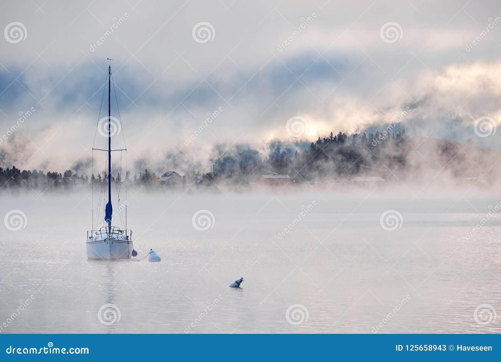 Foggy Misty Lake Landscape In Colorado Usa Stock Image Image Of