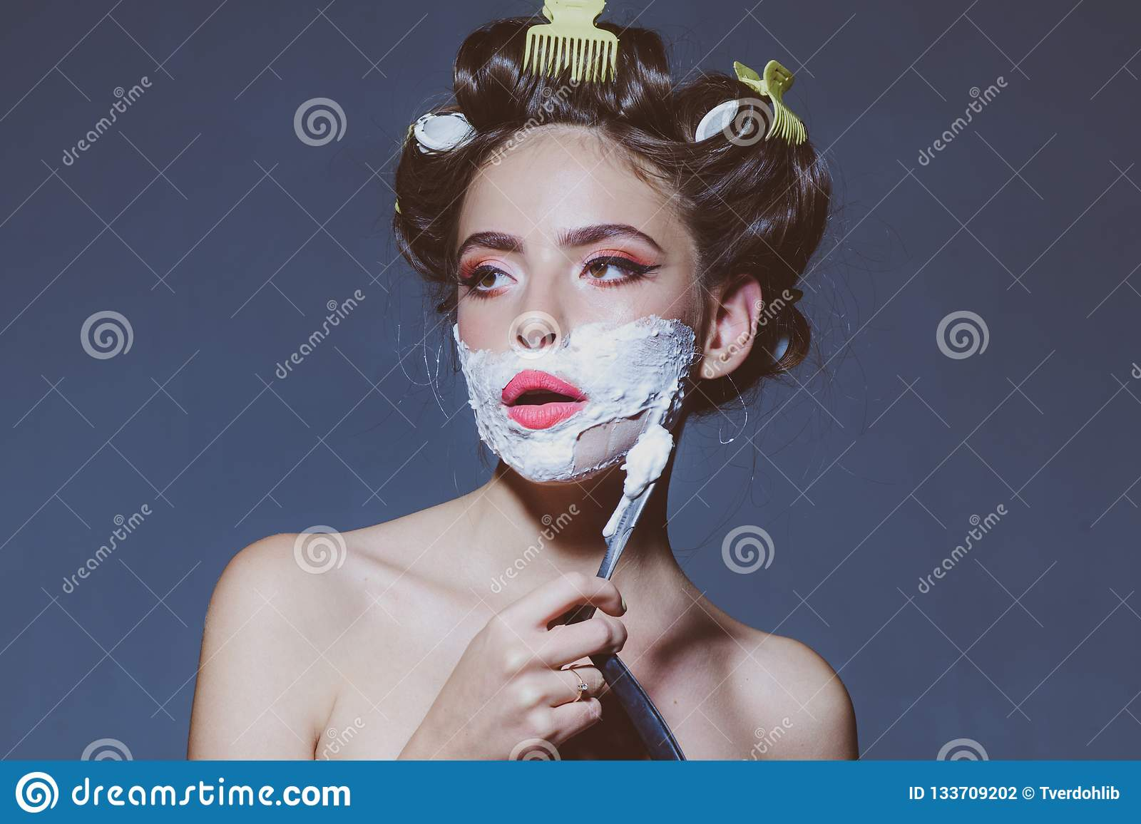 452d81e19f Morning grooming and skincare. pin up woman with trendy makeup. pinup girl  with fashion hair. retro woman shaving with foam and razor blade. pretty  girl in ...