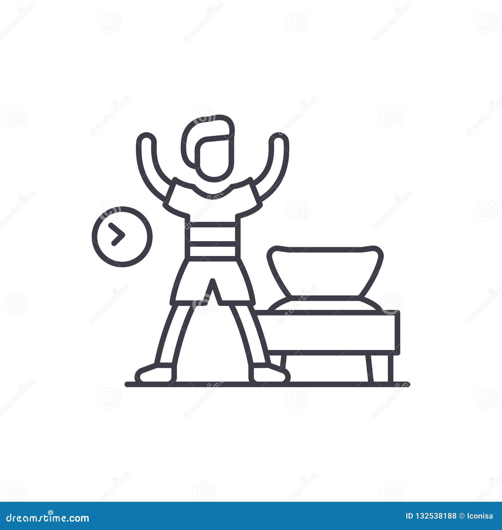 Morning gymnastics line icon concept. Morning gymnastics vector linear illustration, symbol, sign