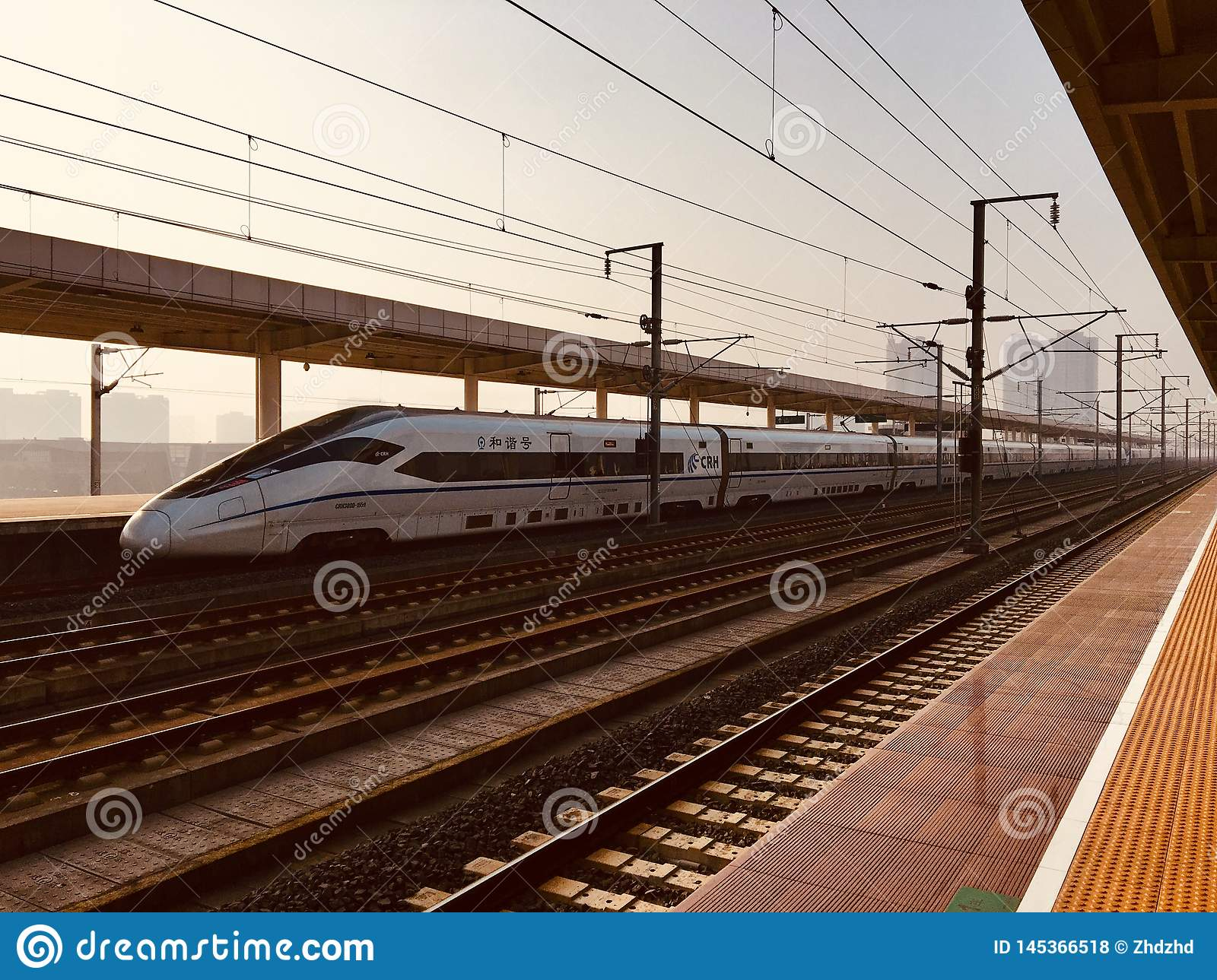 High-speed rail in the morning against the sun
