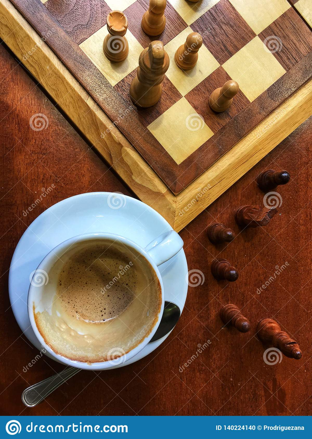 Morning Italian Coffee and chess playing