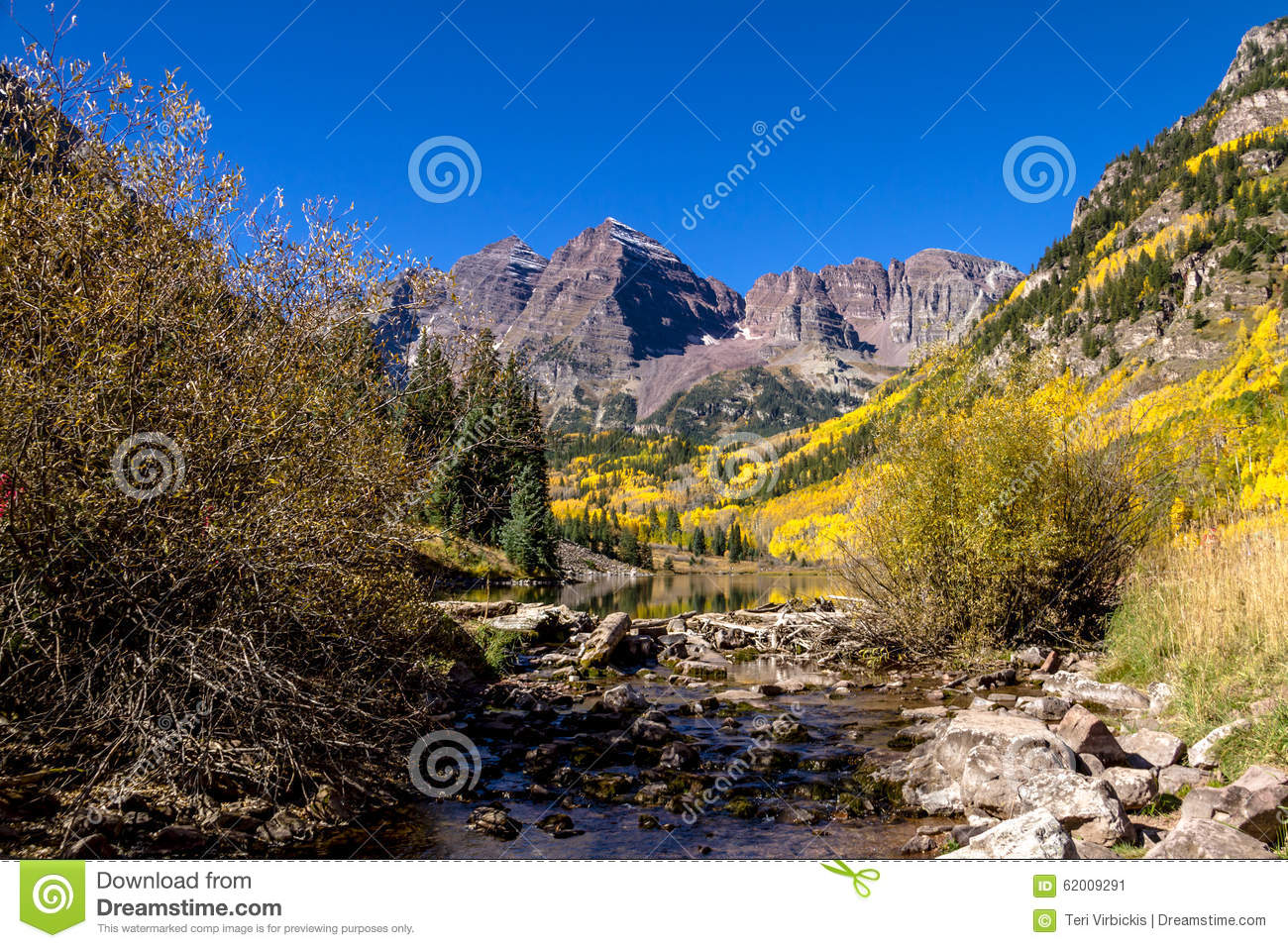 Morning At Maroon Bells Aspen Co Stock Image Image Of
