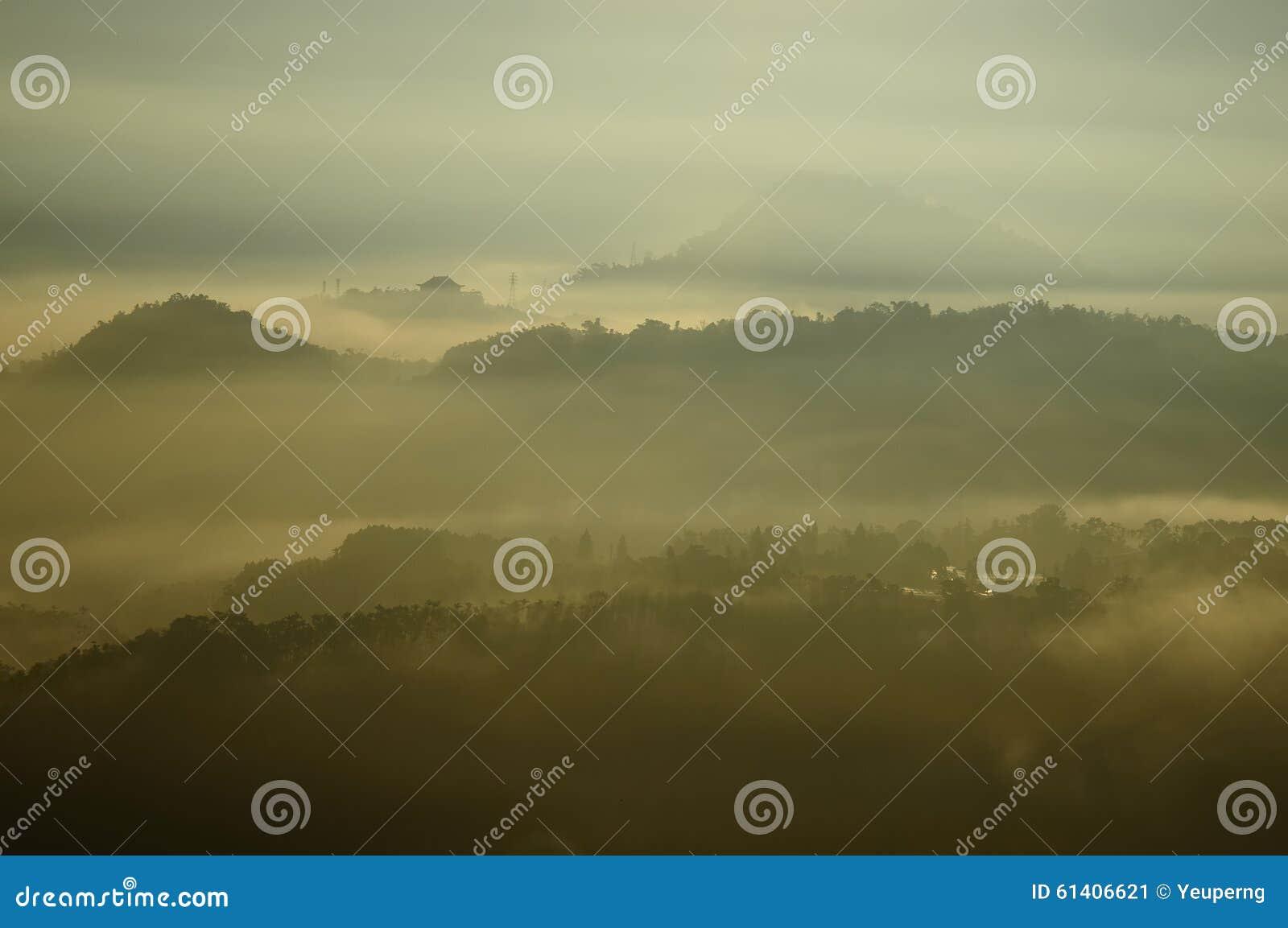 Morning mist landscape.
