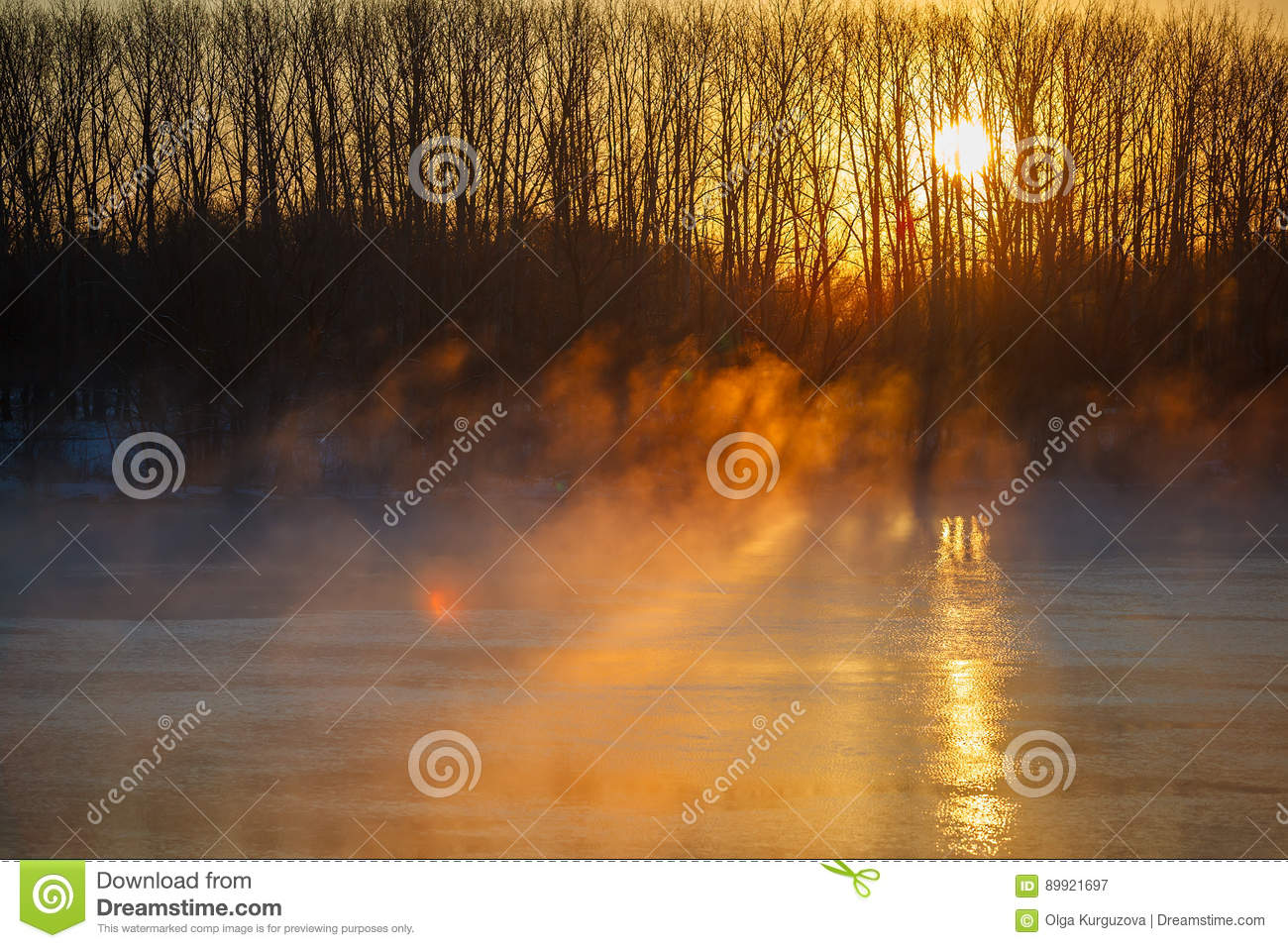 Morning mist over spring river. Central Russia, the Don.
