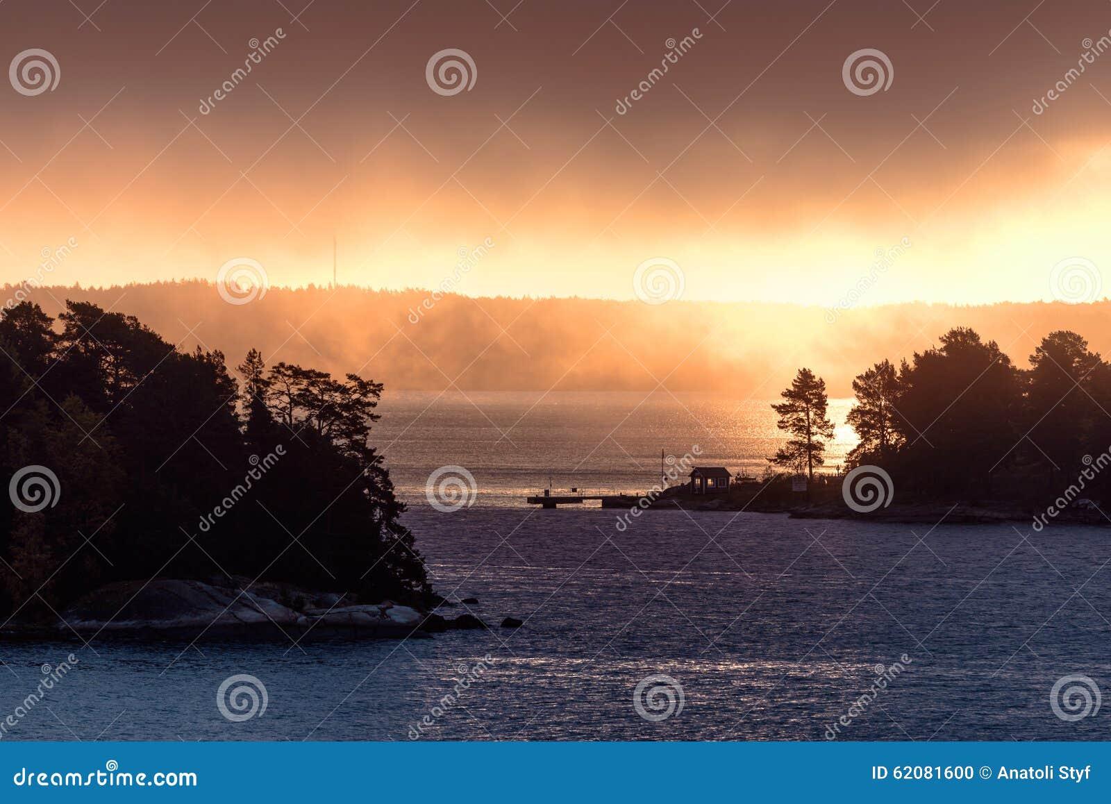 morning mist at sunrise stock photography