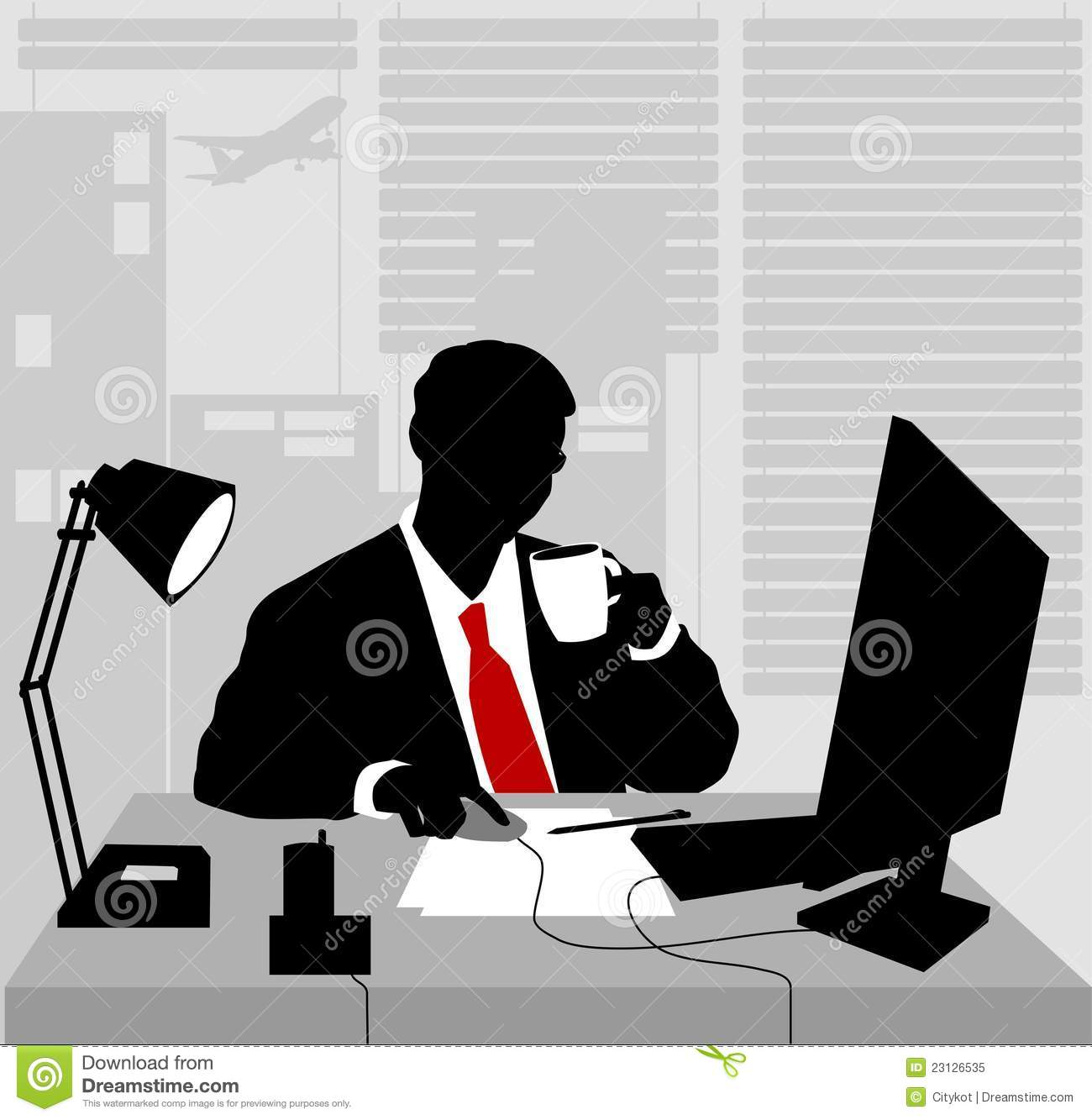Morning At The Office Royalty Free Stock Photo - Image ... Офисный Работник Рисунок