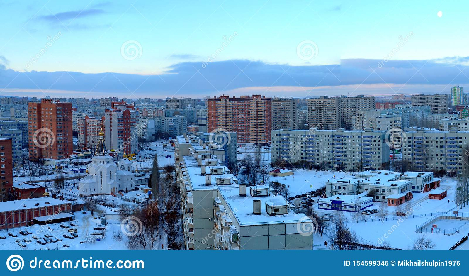 Morning panorama of the city of Togliatti overlooking the Church of the Holy Grand Duke Alexander Nevsky