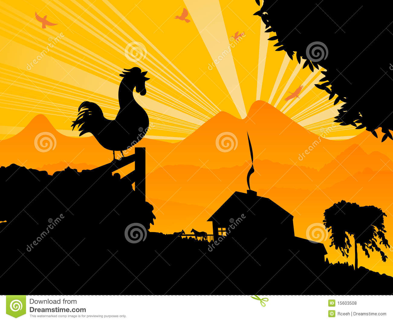 Morning rooster stock vector illustration of fence tree for Clipart gratis download