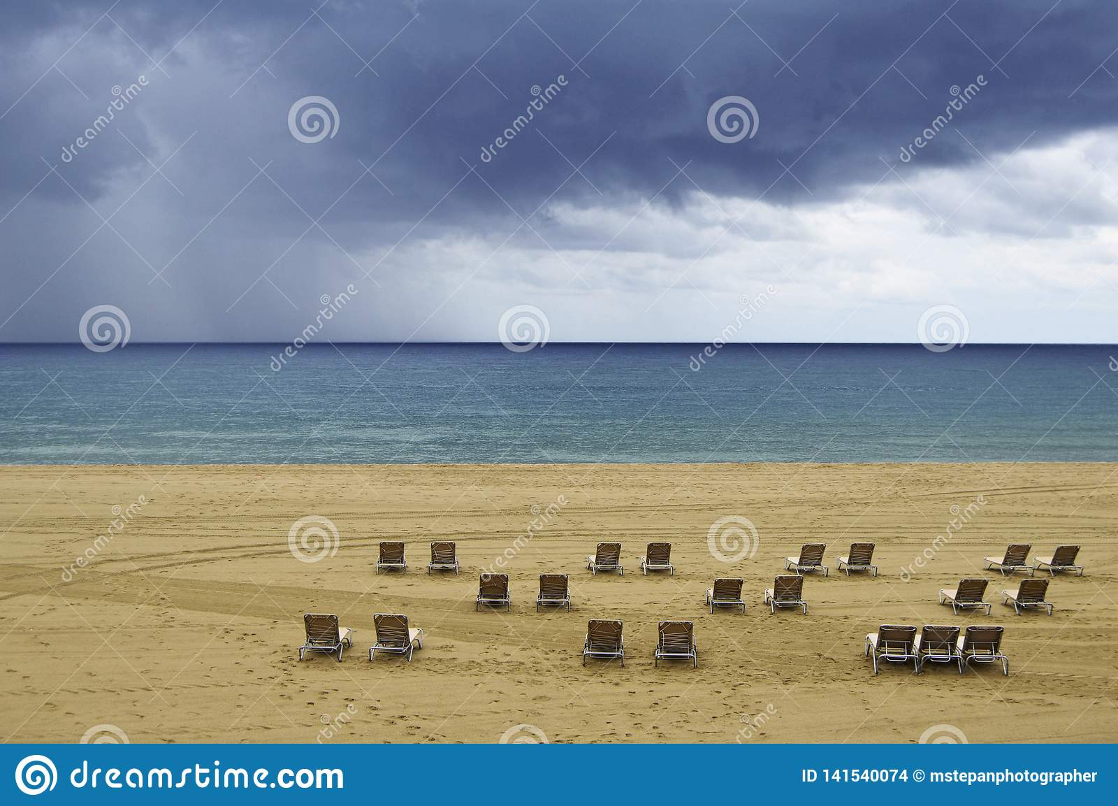 Morning storm clouds over the sea Barcelona Spain