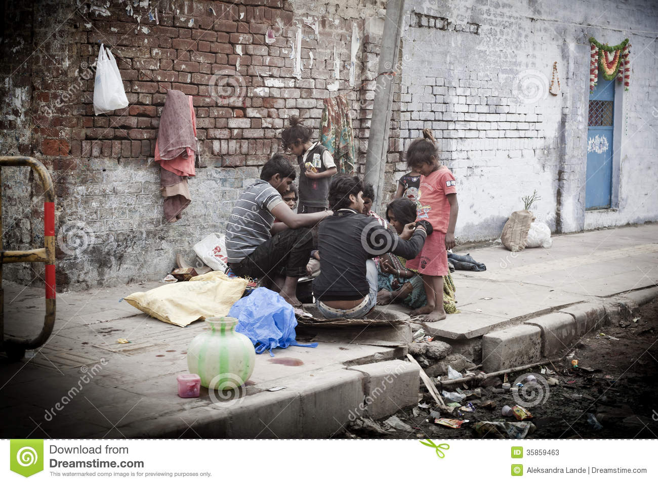 morning on a street poor indian family editorial stock