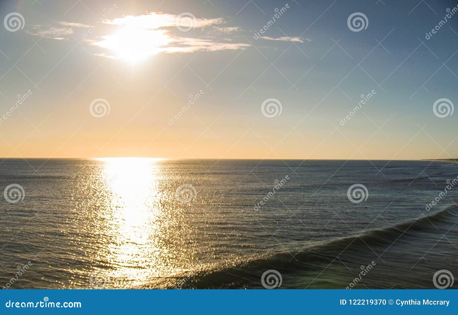 Morning Sun Shimmers off Ocean at Kitty Hawk