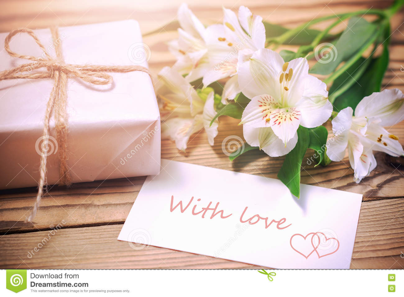 Morning gift surprise stock photo image of heart expression morning surprise flowers and gift box royalty free stock photography negle Images
