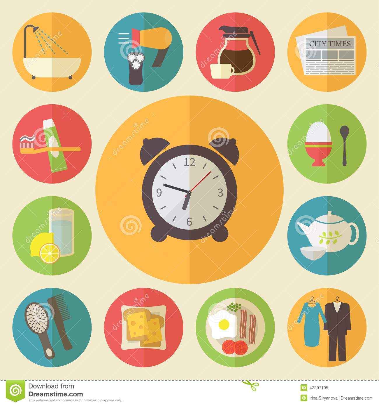 Morning Time Occupation Icons Set Flat Stock