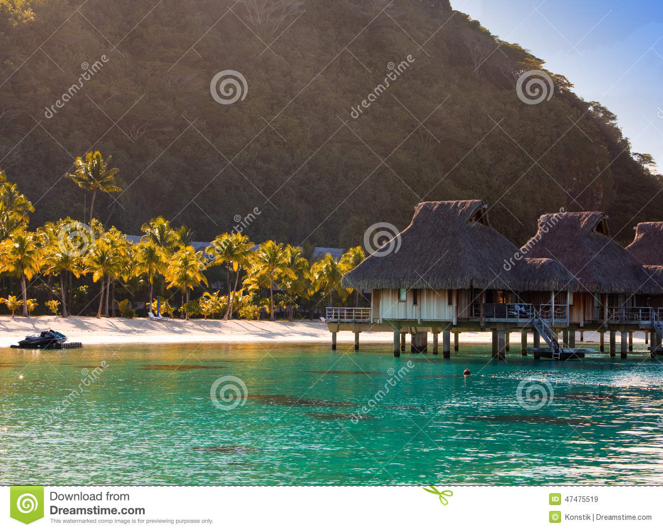 Tropical Island Sun: Morning On The Tropical Island. The Sun Ascends Behind The