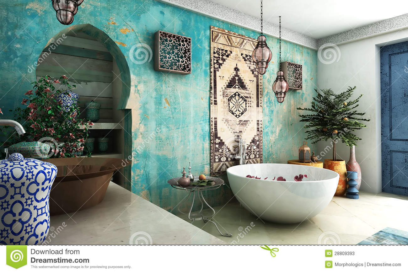 Brown Red And Orange Home Decor Moroccan Bathroom Stock Photos Image 28809393