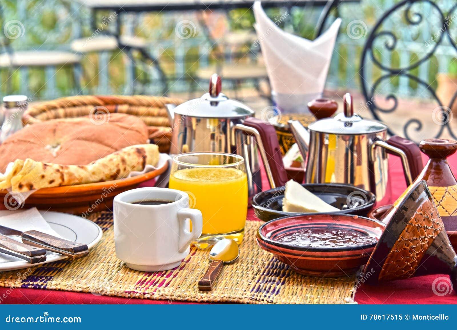 Moroccan breakfast served on hotel terace in Atlas Mountains