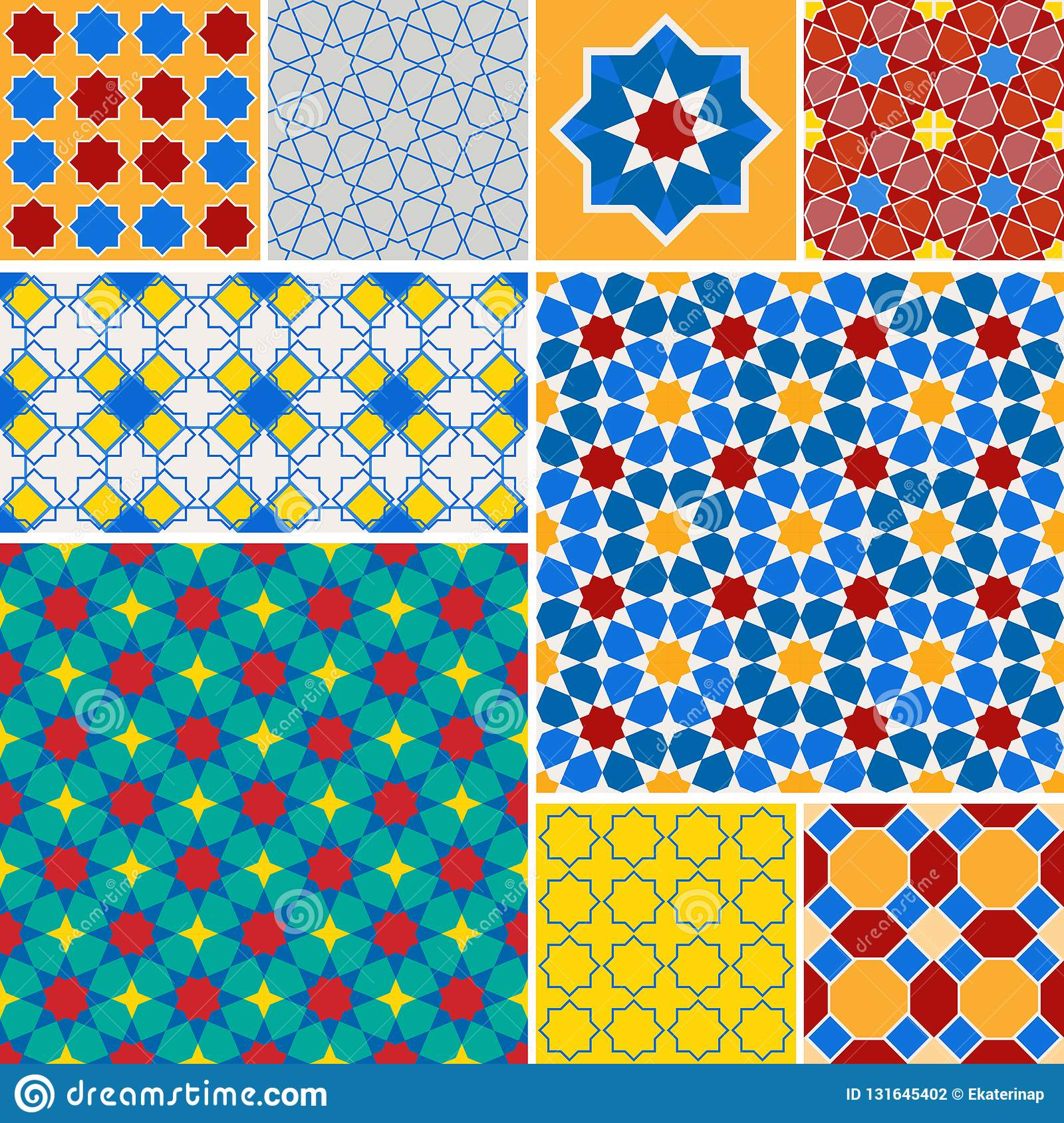 Moroccan collection seamless pattern, Morocco. Patchwork mosaic traditional folk geometric ornament blue red green orange yellow.
