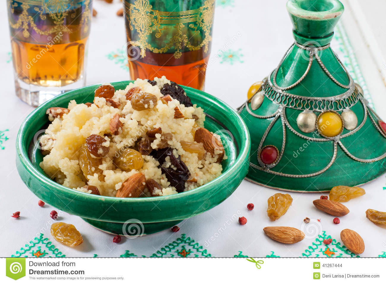 dessert Moroccan couscous with raisins, dates, dried apricots and nuts ...