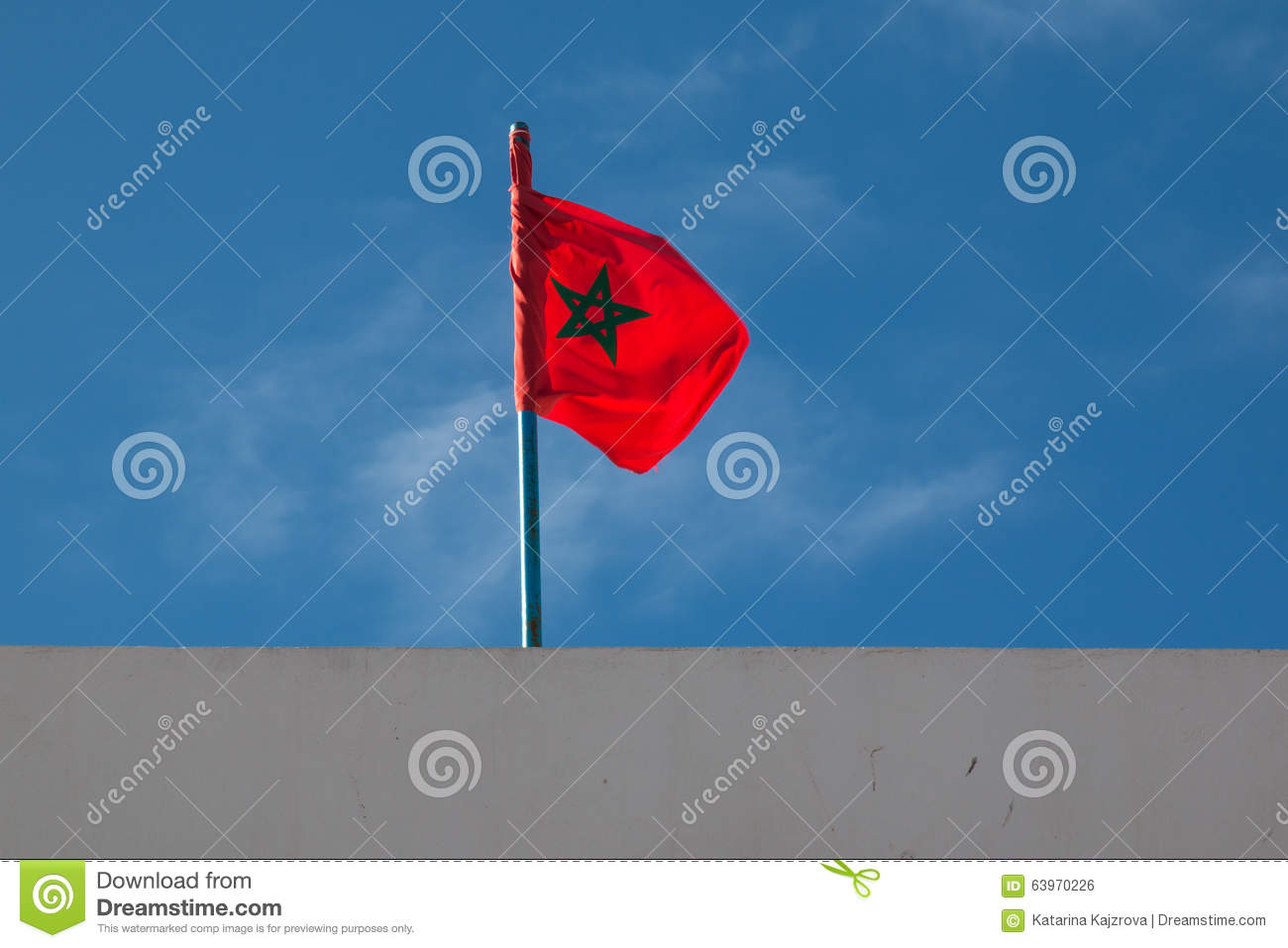 Wind Blowing On Building : Moroccan flag blowing in the wind stock photo image