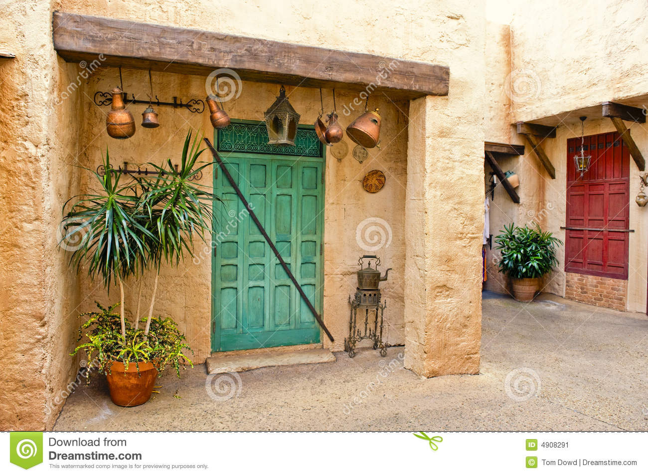 moroccan home and courtyard stock image - image: 4908291