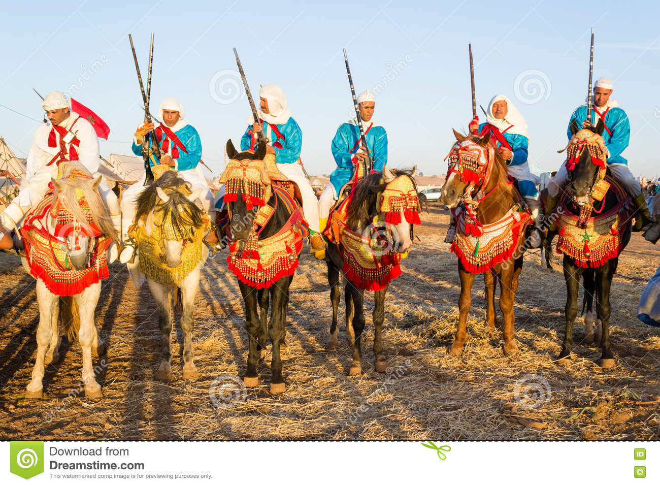 Moroccan horse riders during fantasia festival