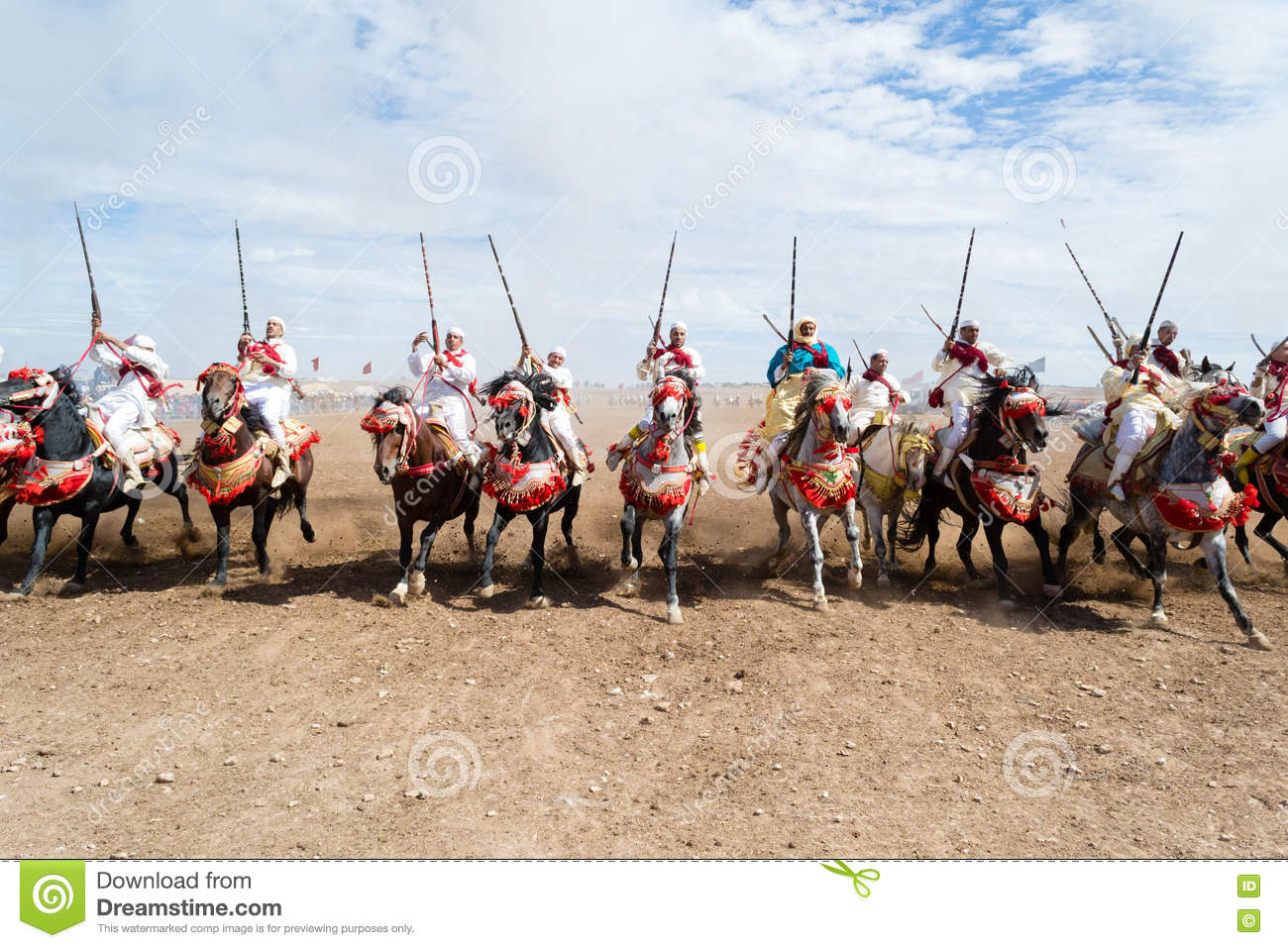 Moroccan horse riders in Fantasia performance