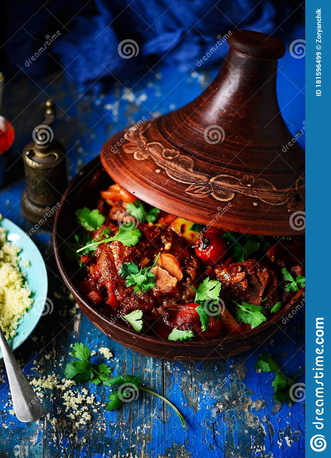 Moroccan Lamb Tagine Style Vintage Stock Image Image Of Food Cuisine 181596499