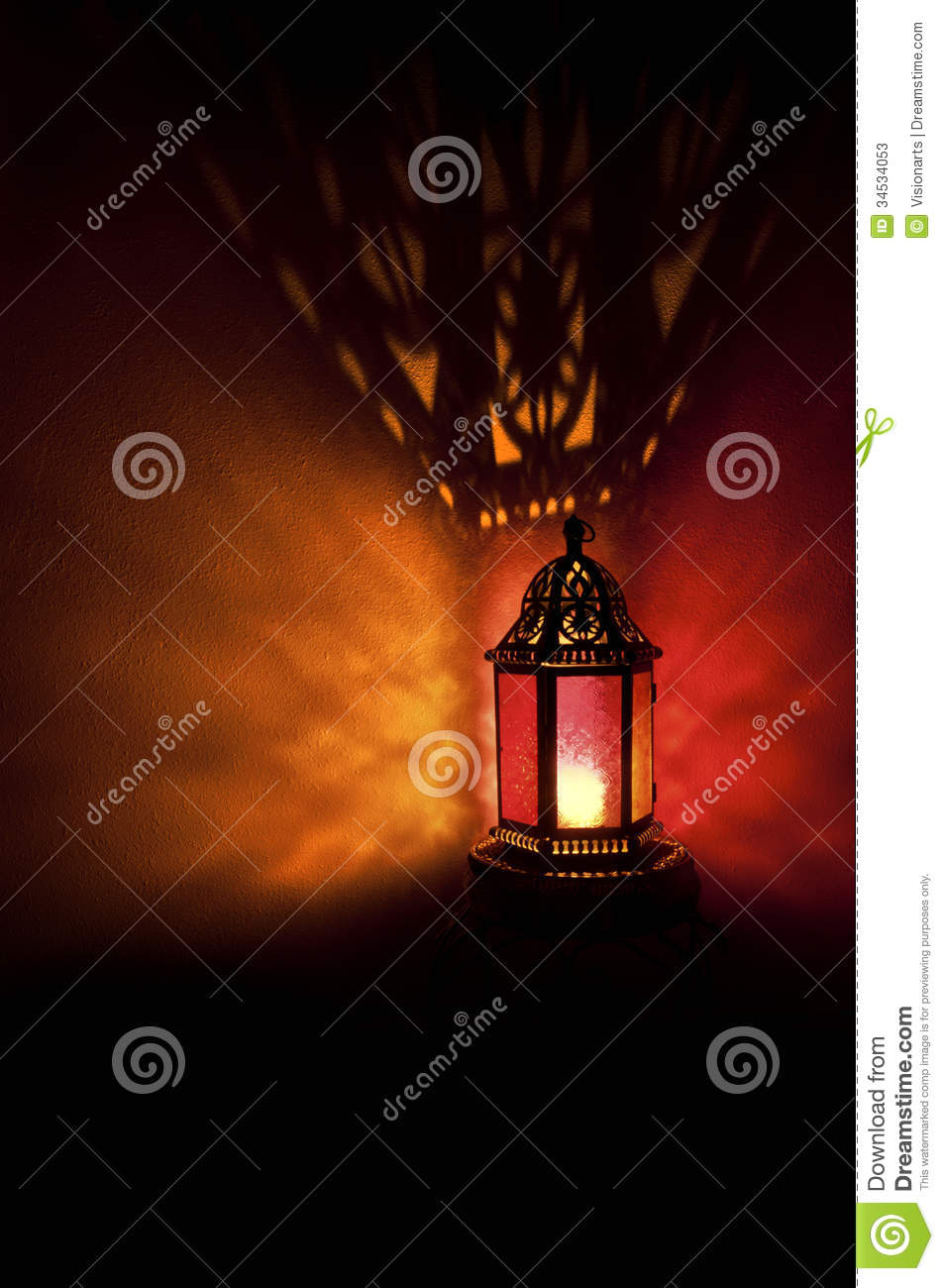 Moroccan Lantern With Colored Glass At Night Time Stock