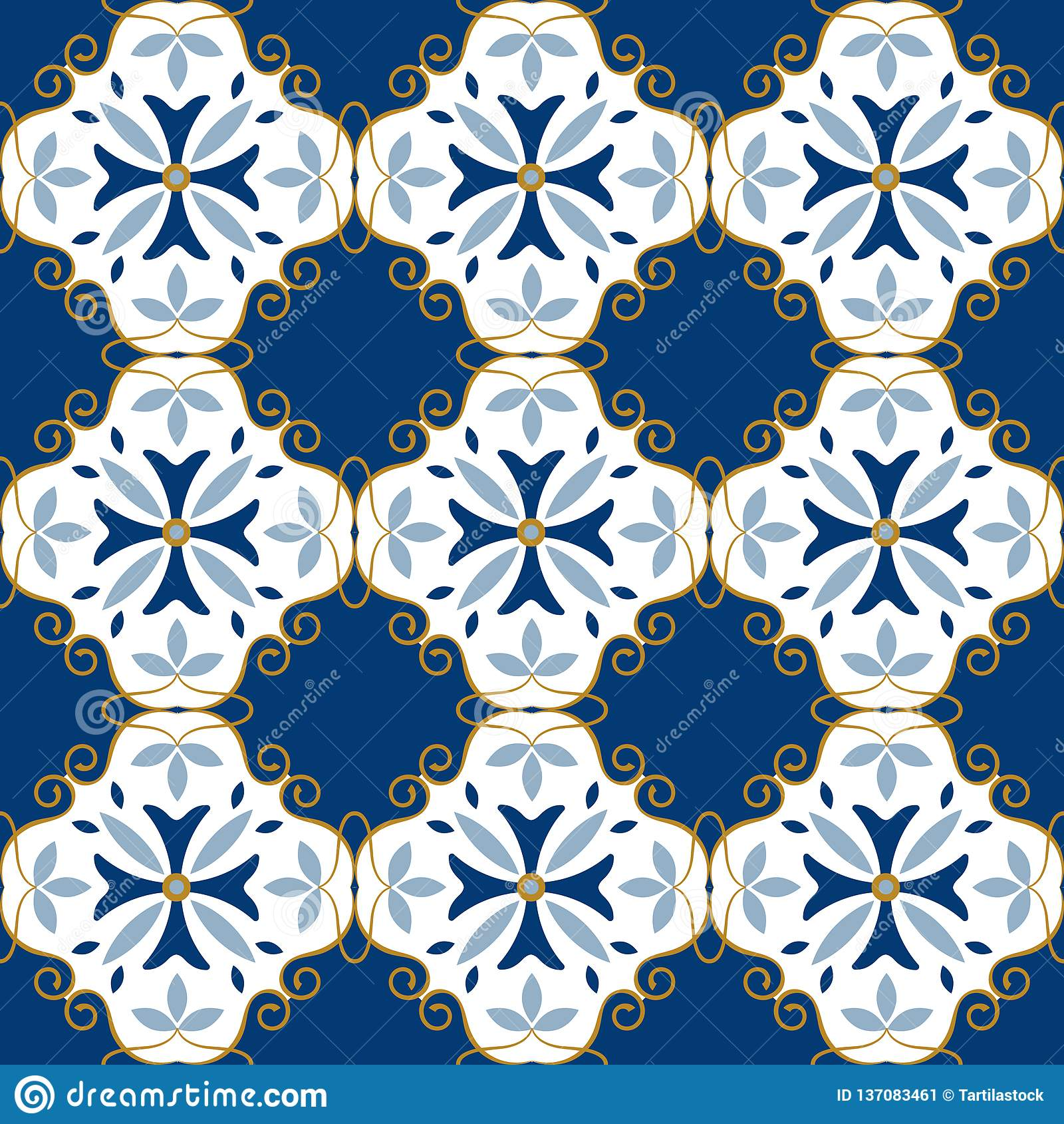 Moroccan Pattern Decor Tile Texture Tiling Seamless Pattern Stock Vector Illustration Of Ornamental Ceramic 137083461